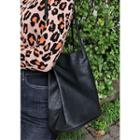 Faux-leather Bucket Tote Black - One Size