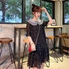 Short-sleeve Chiffon Dotted Dress