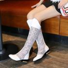 Mesh Panel Tall Boots