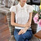 Bow-neck Lace-panel Blouse