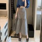High-waist Plaid A-line Maxi Skirt Skirt - One Size