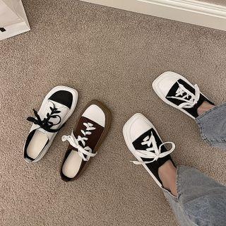 Square-toe Color Block Sneakers