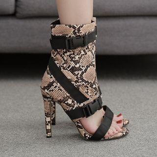 Python Print High-heel Short Boot Sandals