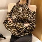 Cutaway-shoulder Leopard Print Top Brown - One Size
