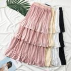 Layered Satin Midi Skirt