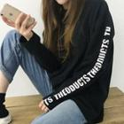 Lettering-sleeve Loose-fit T-shirt