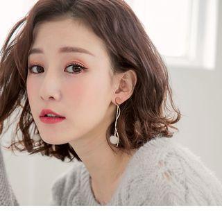 Pompom Drop Earrings Almond/gold - F