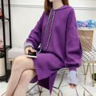 Mock Two-piece Lettering Strap Mini Knit Hoodie Dress