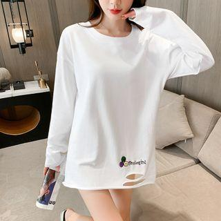 Long-sleeve Embroidered Distressed T-shirt