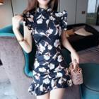 Floral Sleeveless Sheath Mini Dress