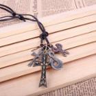 Skull Cross Scissors Necklace