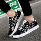 Paneled Lace-up Canvas Sneakers