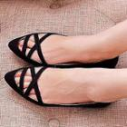 Cross Strap Pointy Flats