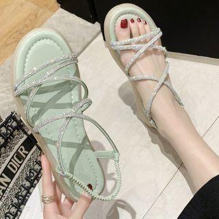 Platform Strappy Rhinestone Sandals