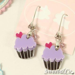Mini Purple Cupcake Crystal Silver Earrings