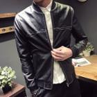 Faux-leather Stitched Zip Jacket