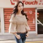 Lantern Sleeve Off-shoulder Sweater