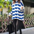 Striped Sweatshirt / Pleated Midi Skirt