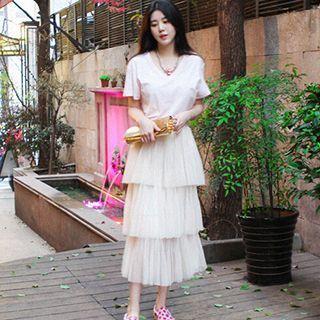Layered Midi Tulle Skirt