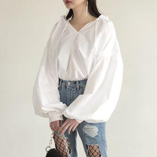 Oversized Puff Sleeve V-neck Top As Shown In Figure - One Size