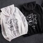 Couple Matching Cat Print Zip-up Hooded Jacket