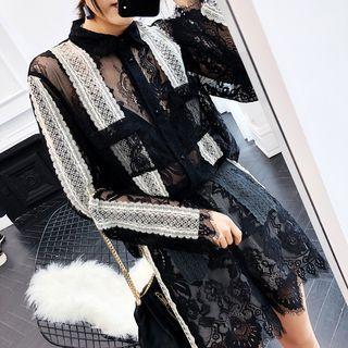 Set: Lace Panel Long-sleeve Top + Shorts