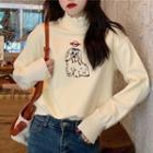 Dog Print Mock-turtleneck Pullover