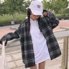 Ring Detail Plaid Oversized Shirt