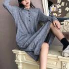 Plain Long-sleeve Dress Gray - One Size