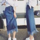 Frayed Midi Denim Skirt / Buttoned Denim Skirt