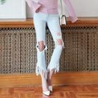 Distressed Fringe-hem Jeans