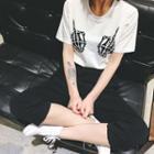 Set: Print Crewneck T-shirt + Elastic Waist Cropped Pants