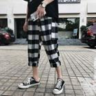 Checker Cropped Cargo Harem Pants