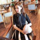 Contrast Trim Short Sleeve Knit A-line Dress