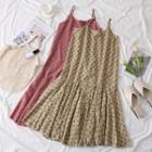 Ruffled-hem Floral A-line Dress