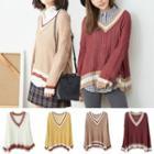 Drop Shoulder V-neck Knit Top