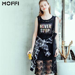 Lettering Lace Midi Skirt