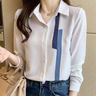 Long-sleeve Contrast Applique Shirt