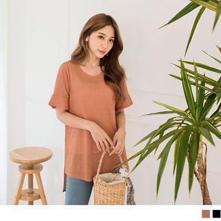 Round Neck Plain Short-sleeve Knit Top