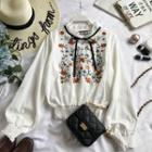 Smocked Floral Embroidered Long-sleeve Blouse