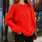 Crew-neck Chunky Knit Sweater Red - One Size