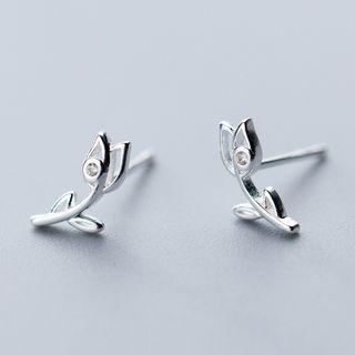 925 Sterling Silver Rose Stud Earring As Shown In Figure - One Size
