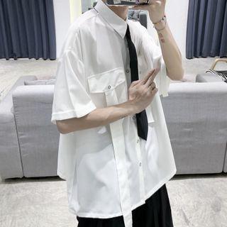 Tie Accent Pocket Detail Short-sleeve Shirt