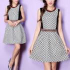 Sleeveless Patterned A-line Mini Dress
