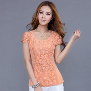 Short-sleeve Lace-panel Top