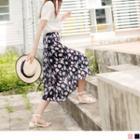 Tie-waist Floral Print Chiffon Midi Skirt