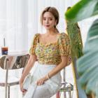 Square-neck Cropped Floral Blouse
