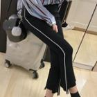 Contrast Trim Boot Cut Pants