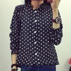 Ruffle Collar Long Sleeve Dotted Chiffon Blouse