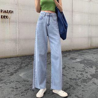 High-waist Shift Wide-leg Jeans